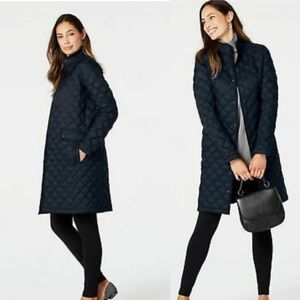 J. Jill navy long quilted down snap front jacket